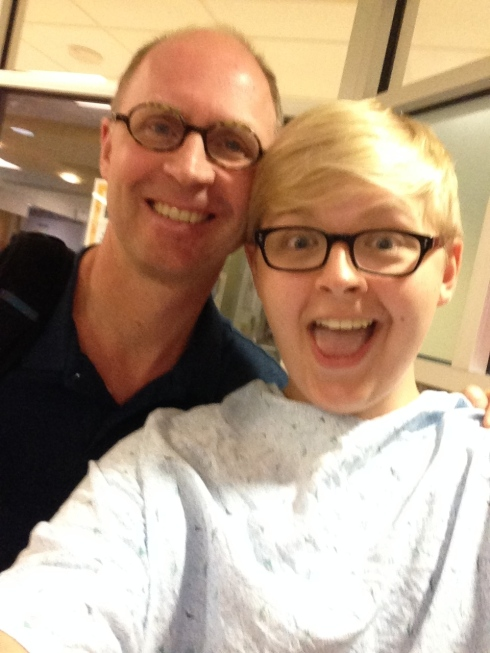 Selfie with Dad right before going in for surgery to have the port taken out.
