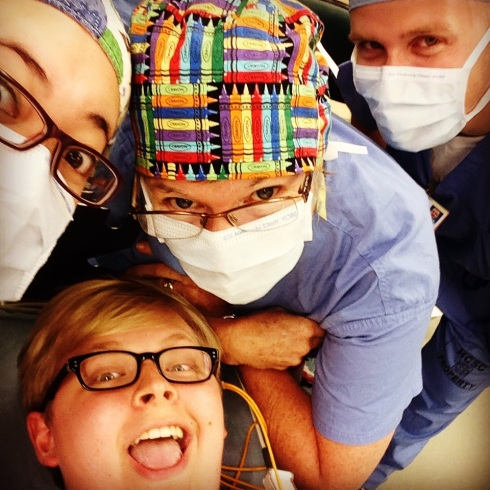 I took a selfie with the surgeons right before going under. Don't worry, they were super cool with it.